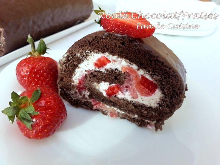 Gâteau roulé chocolat/fraises