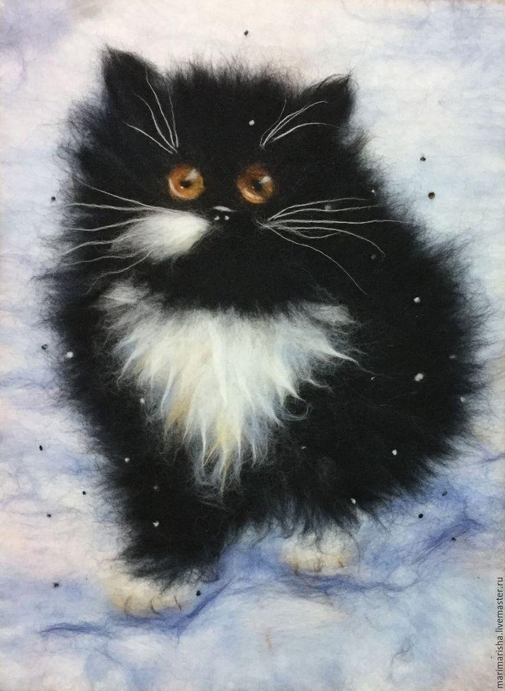 Купить Картина из шерсти Мартовский кот - картина из шерсти, живопись шерстью, Живопись, картины из шерсти