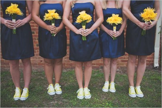 love sneakers with dresses! looks adorable and keeps the bridesmaids from painful shoes!