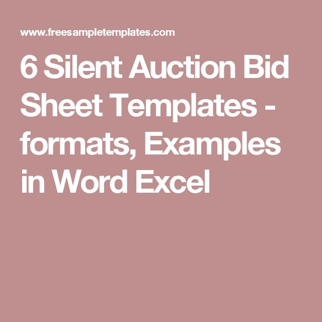 6 Silent Auction Bid Sheet Templates Formats Examples In Word