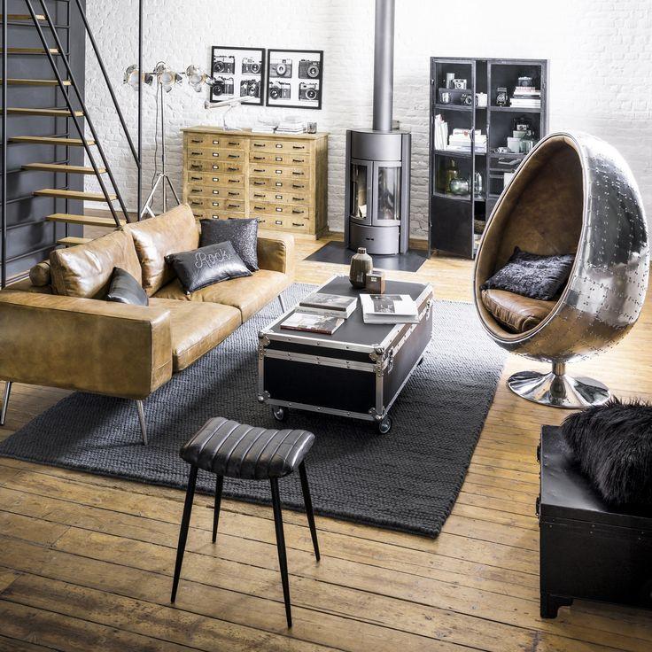 Mid century modern decoration masculine noire et doré dans ce salon moderne decorationmasculine salon