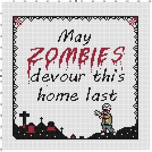 May Zombies Devour this Home Last - Cross Stitch Pattern - Instant Download