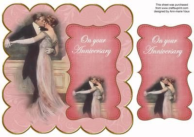 Dancing Couple Pink Your Anniversary 8in Scallop Topper on Craftsuprint - Add To Basket!