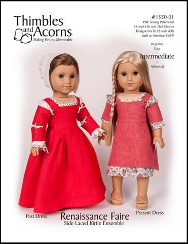 Thimbles and Acorns Renaissance Faire Side Laced Kirtle Ensemble Doll Clothes Pattern 18 inch American Girl Dolls | Pixie Faire