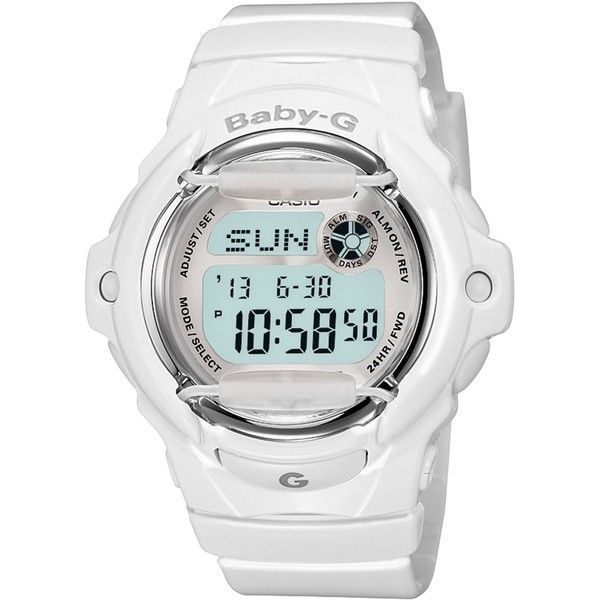 Baby-g Watch, Women's Digital White Resin Strap 46x43mm BG169R-7A ($79) ❤ liked on Polyvore featuring jewelry, watches, no color, digital wristwatch, digital sport watch, digital watches, g shock watches y digital wrist watch