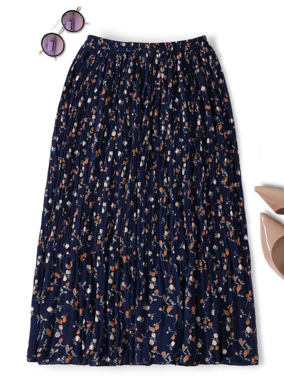 Midi Tiny Floral Pleated Skirt - PURPLISH BLUE ONE SIZE