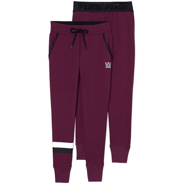 Cute Sweatpants & Joggers for Women - PINK ($60) ❤ liked on Polyvore featuring activewear, activewear pants, purple sweat pants, jogger sweat pants, skinny jogger sweatpants, pink sweatpants and sweat pants
