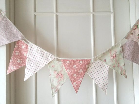 Super cute Fabric Banners Bunting Garland by BerryAlaMode via #etsy would look super cute in our dream #serenaandlilystyle #nursery !