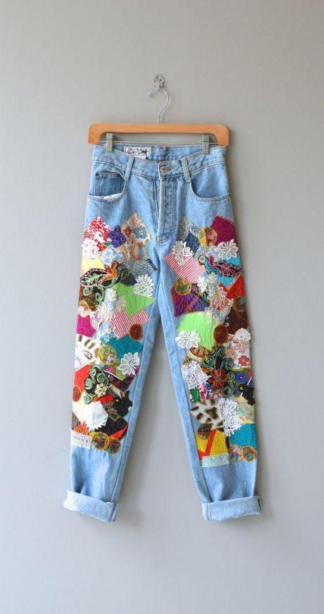 (82) Happy Patchwork jeans • vintage 1980s denim • high waist 80s colorful jeans
