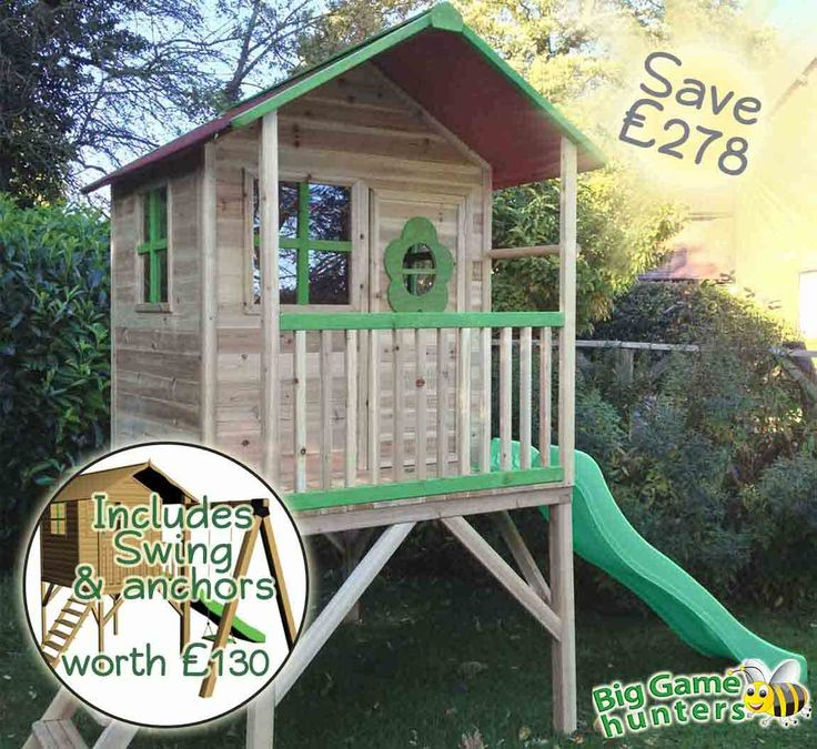 Pinewoods Den Wooden Playhouse with Swing