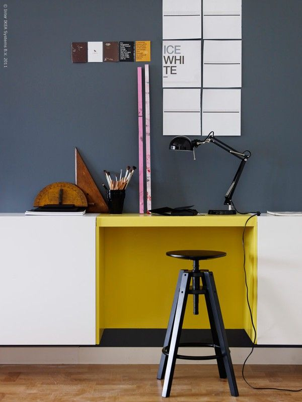 colorful..: Wall Colors, Yellow Desks, Grey Wall, Work Spaces, Workspaces, Desks Spaces, Mustard Yellow, Home Offices, Design Offices