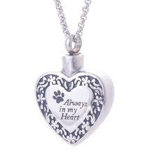 New Hot mode 316L en acier inoxydable crémation urnes pendentifs colliers bijoux toujours dans mon coeur avec chien empreinte IRLY042(China (Mainland))