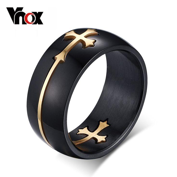 Vnox Separabile Anello Croce per Gli Uomini Donna di Colore Nero In Acciaio Inox Freddo Maschile Gioielli di Design