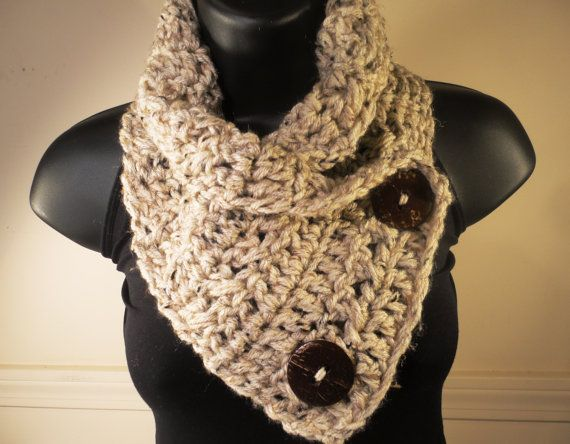 Crochet Pattern for Scarf Cowl With Buttons by VillaYarnDesigns