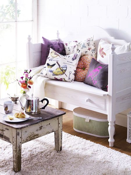 Love the sitting bench and old table matched together