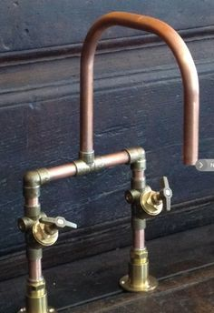 DIY faucet with copper pipes and brass fittings