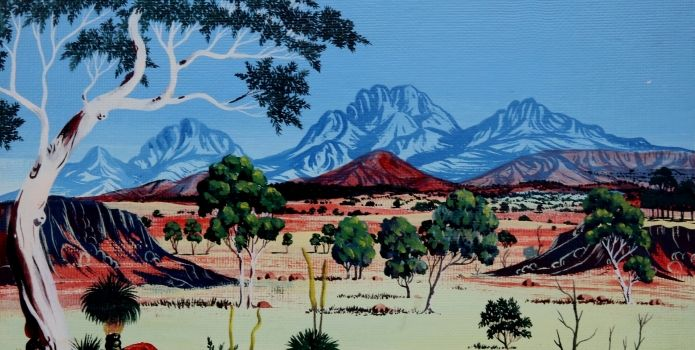 The Carrolup School developed a romantic landscape style in the 1940s that influenced Noongar artists of south-west Western Australia, at Japingka Gallery