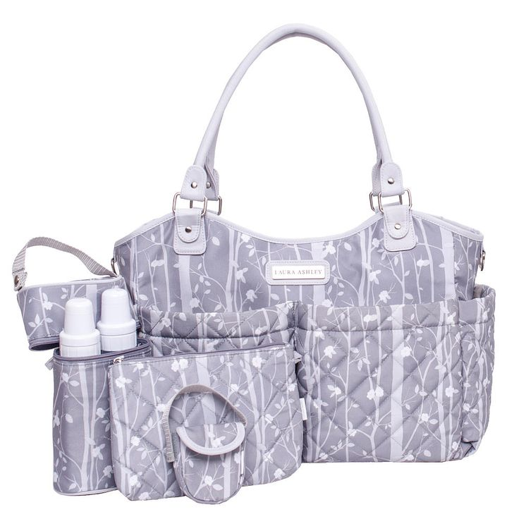 Laura Ashley, the quintessential English lifestyle brand, has created a line of beautiful and functional diaper bags to suit every need. This 6 piece diaper bag set is made in printed Microfiber nylon material which easily wipes clean. The look is enhanced by 2 roomy, quilted front pockets and 2 deep side pockets. The back of the bag has a large slash pocket with a magnetic closure that holds a cushioned changing pad. Attached is a zippered, insulated bottle holder with capacity for 2…
