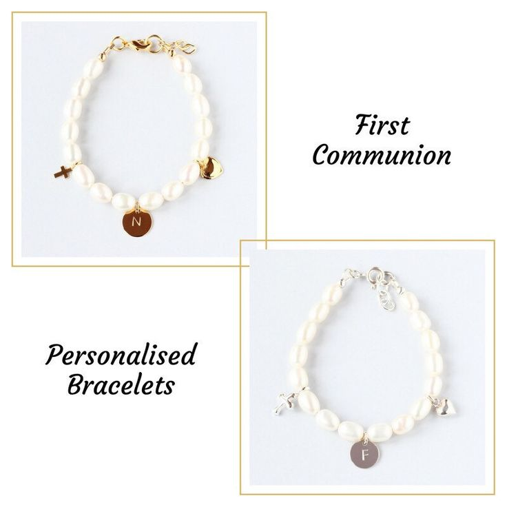 A new collection of personalized bracelets for the First Communion. They are handmade with freshwater pearls and gold filled or sterling silver charms. Add an initial to make your little girl feel extra special on the day 💞.