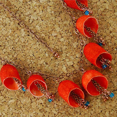 https://flic.kr/p/6Hvw8s | Orange Silk Cocoon Necklace | Silk Cocoon Jewelry…