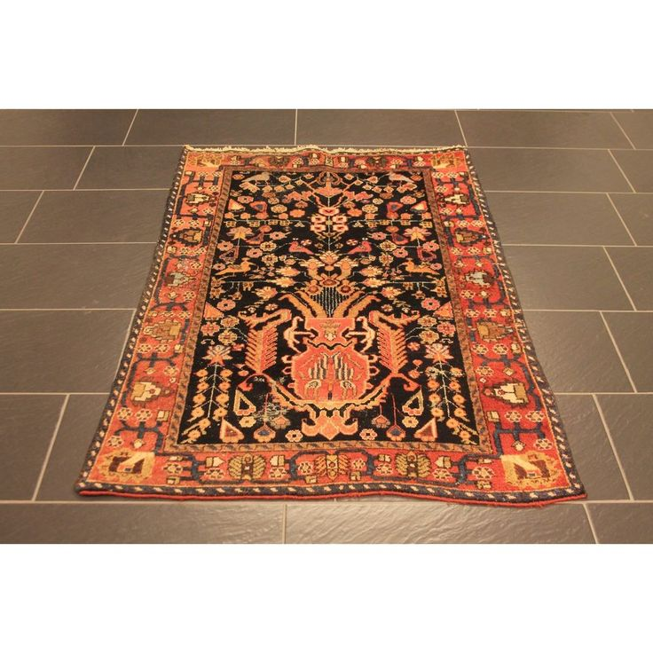 Alt Handgeknüpft Perser Orient Teppich Fergahan Heriz Carpet Vögel Rug 150x100cm