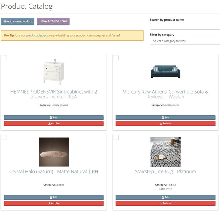 Clip items from your favorite websites and add them to your interior design project using Mydoma Studio's product clipper. You can add furniture, lighting, fixtures, tile, and so much more. Best of all it's completely free to get started with this software!