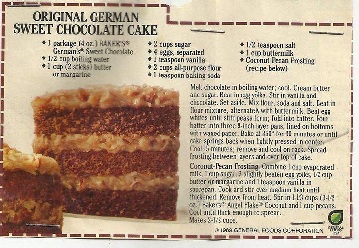 Bakers Sweet Chocolate German Chocolate Cake Recipe