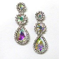 A design that pleases the eye, these iridescent crystal earrings have moderate size with iridescent crystals surrounded by tiny clear rhinestones.  The popularity of iridescent crystals is growing steadily, making this crystal jewelry popular for every age group from prom girls to seniors.  Find the wholesale crystal earrings that will please your customers by following the link.  http://www.awnol.com/store/Crystal-Jewelry/Crystal-Earrings