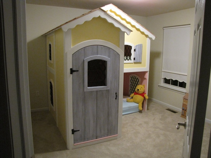 my father-in-law made this cottage bunk bed for our little girls<3Bunk Bed