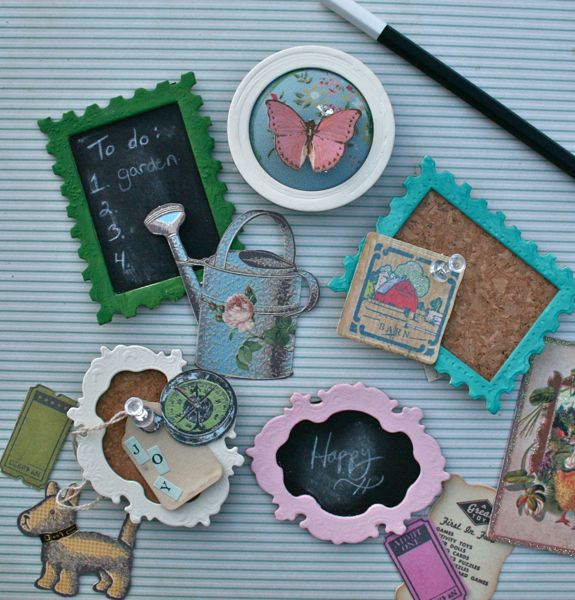 Chipboard frames become mini chalkboards, pin cushions and corkboards! See the details at www.vintagestreetmarket.com.
