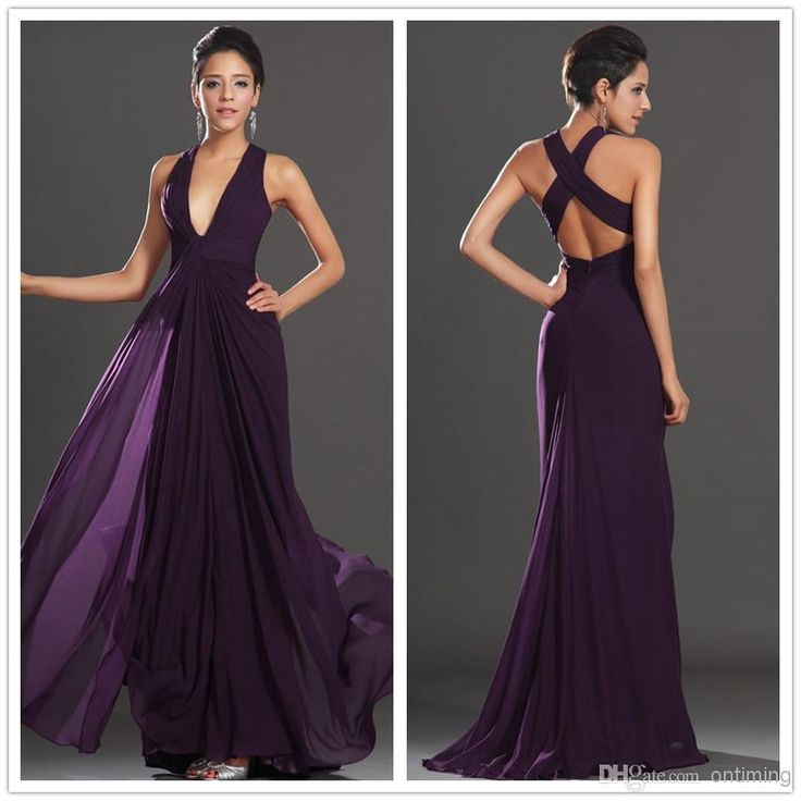 Free Shipping 2012 Sexy Deep V Neck Long Chiffon Bridesmaid Dresses Dark Purple Backless A-Line Flowy Wedding Party Prom Dresses Sexy YAA  http://www.dhgate.com/product/romantic-dark-purple-bridesmaid-dresses-cap/180240352.html#s2-7-1a|389359913
