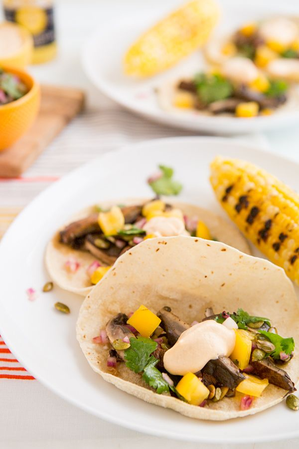 Beer-Marinated Grilled Mushroom Tacos with Pepita Relish & Chipotle Crema