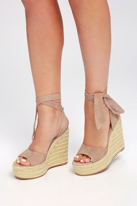 fd539105115 Get on board with the Tony Bianco Barca Blush Kid Suede Leather Lace-Up  Espadrille Wedges! Soft