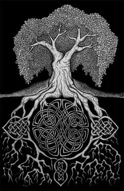 Deep rooted Celtic knot tree.. this would be an amazing back tattoo, but damn, would it hurt!