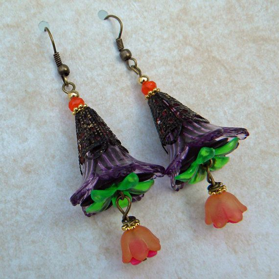 Halloween Earrings Witches Hat Tango Black Tie by Msemrick, $20.00