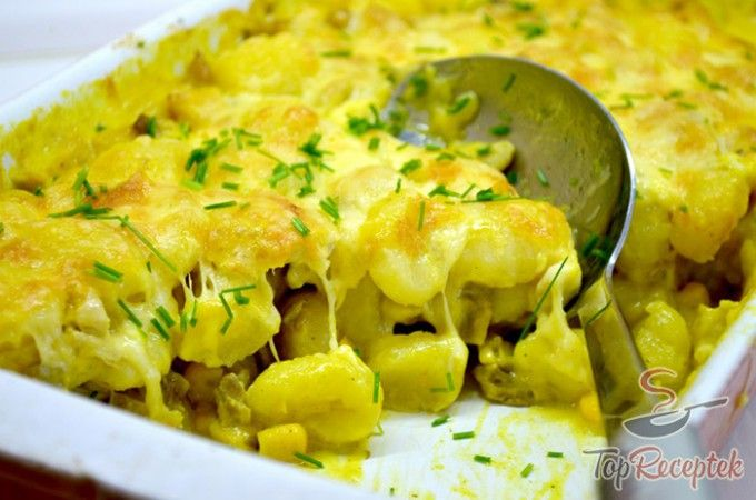 Csőben sült tészta (gnocchi) csirkehússal és laskagombával | TopReceptek.hu