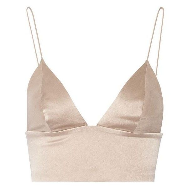 T by Alexander Wang Cropped silk-satin bralette ❤ liked on Polyvore featuring tops