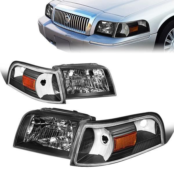06 11 Mercury Grand Marquis Headlights Black Housing Amber Corner Grand Marquis Headlights Marquise