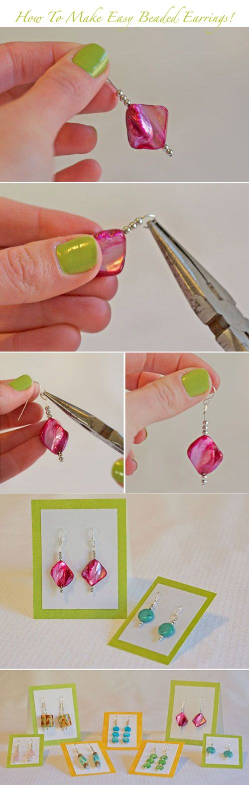 Learn how to make easy DIY beaded earrings in 5 minutes! You can find the whole tutorial here http://www.weddingwindow.com/blog/2012/05/07/diy-5-minute-beaded-earrings/