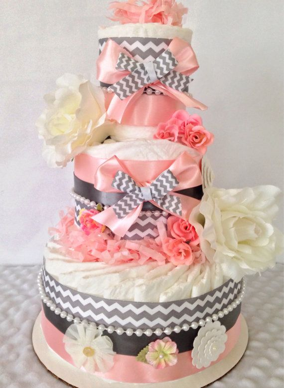 Vintage Shabby Chic Baby Diaper Cake for Girls by AllDiaperCakes