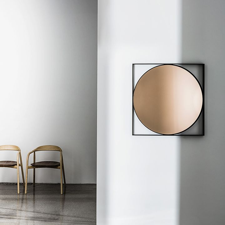 Visual with rose #mirror and lacquered metal frame, mocha finish  Discovering #Sovet #essential #collection  #design #Lievore #Altherr #Molina