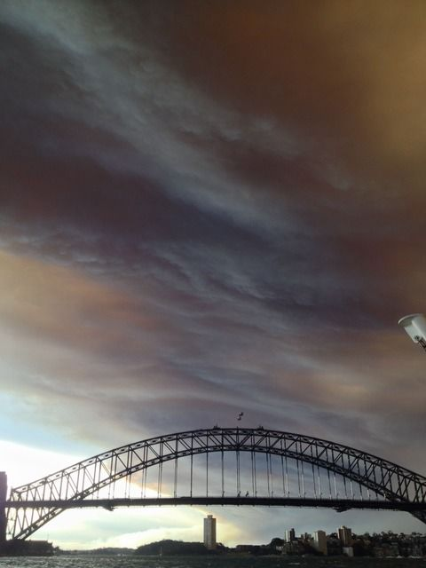 View of Bush Fires from Sydney ferry - GuardianWitness