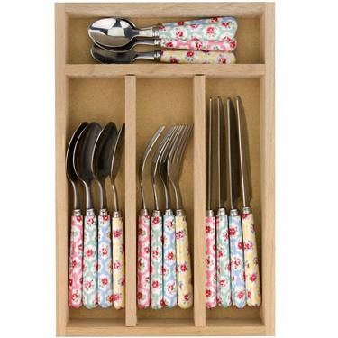 Cath Kidston - Provence Rose 16 Piece Cutlery Set