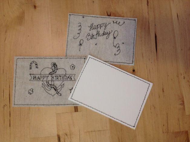 Geburtstag  Maschinenstickerei #Birthday Cards