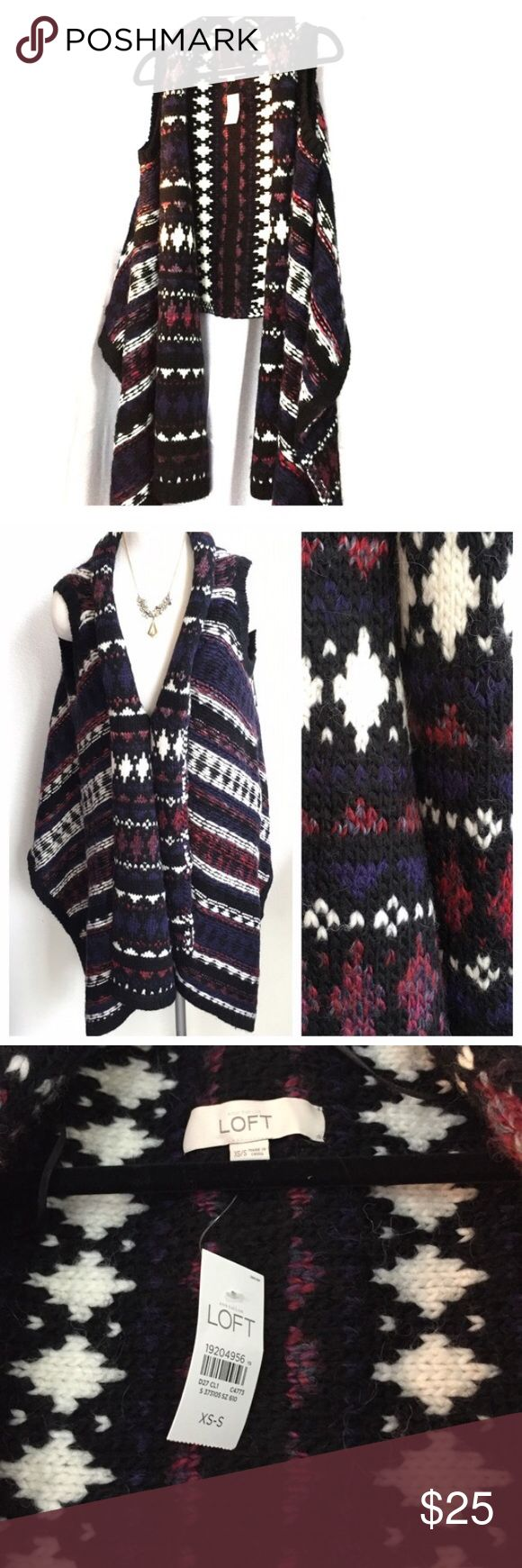 NWT❗️LOFT Open sweater with Aztec print!! 🤗 Never worn LOFT chunky sweater. Super cute and warm! Perfect for the fall and winter months. Wear this around a bonfire or snuggle at home on the couch 🤗 Longer in front. Purple, black, maroon, navy and cream LOFT Sweaters Shrugs & Ponchos
