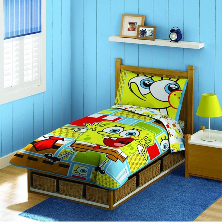 Decoration Small White Floating Shelves Above Sponge Bob Bedding Combined With Cool Yellow Table Lamp