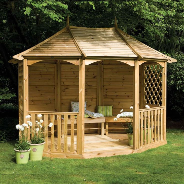 "gazebos with seating | 11'9"" x 9'3"" FT (3.6 x 2.8m) Wooden Gazebo Pavilion With Five Bench ..."