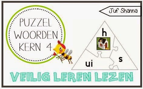 Juf Shanna: Veilig Leren Lezen puzzel - kern 4