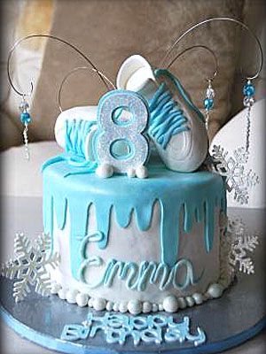 I love this cake for Disney's Frozen, but not the ice skates on top. I'd put Elsa & Anna atop it.
