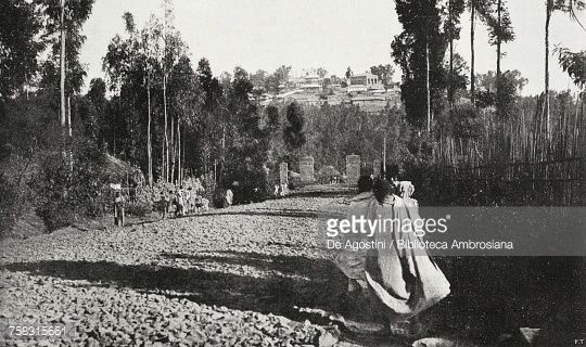 Road to Addis Ababa with Ghebi (imperial palace) in background, Ethiopia, from lIllustrazione Italiana, Year XLV, No 34, August 25, 1918